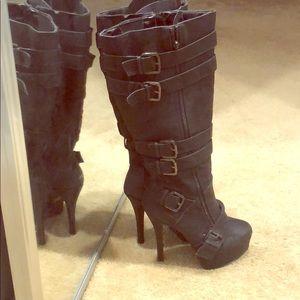 Sexy black buckle stilettos boots